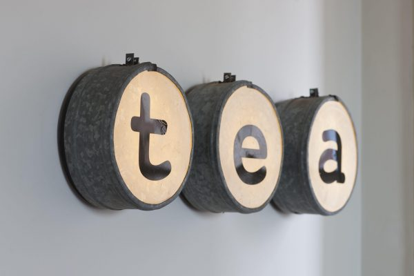 Lit tea sign in kitchen of North Berwick holiday home