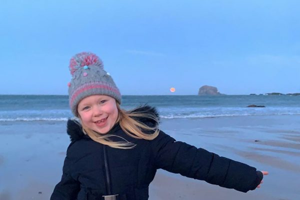 Girl on North Berwick beach